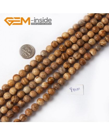 "G4259 8mm Yellow Brown Natural Round Picture Jasper Stone Beads Strand 15"" Natural Stone Beads for Jewelry Making Wholesale"