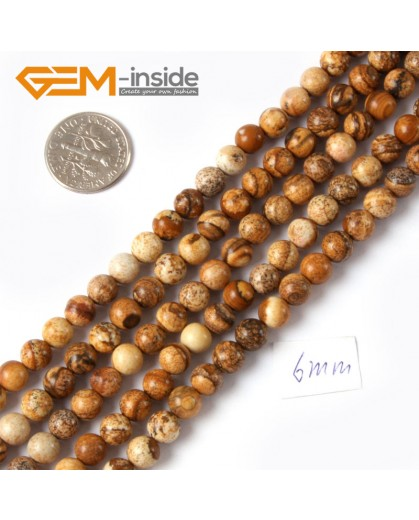 "G4260 6mm Natural Round Gemstone Picture Jasper Jewelry Making Loose Beads Strand 15"" Natural Stone Beads for Jewelry Making Wholesale"