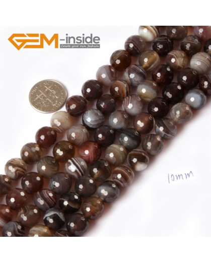 "G4353 10mm Natural Faceted Round Gemstone Botswana Agate Beads Loose Beads Strand 15"" Free Shipping Natural Stone Beads for Jewelry Making Wholesale"