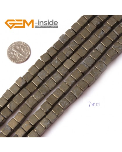 "G4431 7mm cube Gemstone Silver Gray Pyrite Stone Beads Strand 15"" Free Shipping Natural Stone Beads for Jewelry Making Wholesale"