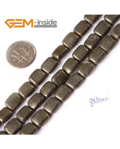 "G4432 8x10mm Rectangle Silver Gray Pyrite Stone Loose Beads Strand 15"" Free Shipping Natural Stone Beads for Jewelry Making Wholesale"