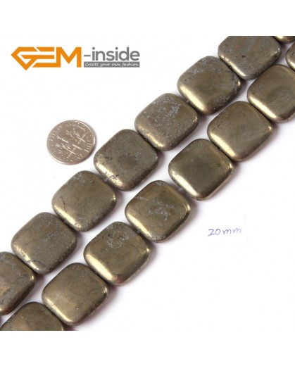 "G4433 20mm square Gemstone Silver Gray Pyrite Stone Beads Strand 15"" Free Shipping Natural Stone Beads for Jewelry Making Wholesale"