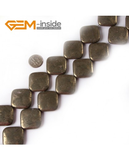 "G4434 25mm Squre Gemstone Silver Gray Pyrite Stone Beads Strand 15"" Free Shipping Natural Stone Beads for Jewelry Making Wholesale"