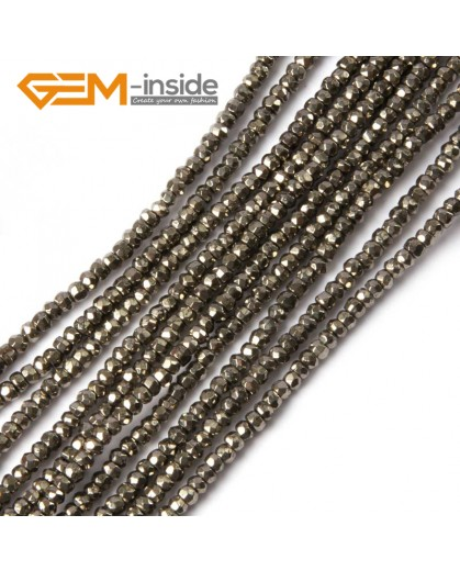"G4479 2x3mm Rondelle Faceted Silver Gray Pyrite Loose Beads Strand 15"" Natural Stone Beads for Jewelry Making Wholesale"