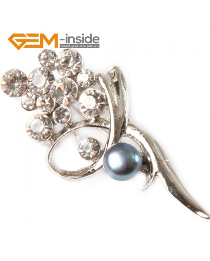 G4541 black Beautiful 7-8mm Freshwater Pearl With Gold Plated Flower Shape Brooch 25x52mm Brooch Pin Fashion Jewelry Jewellery