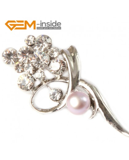 G4542 7-8mm White Freshwater Pearl Rhinestone Gold Plated Flower Shape Pin Brooch 25x52mm Fashion Jewelry Jewellery for Women 1 Pcs