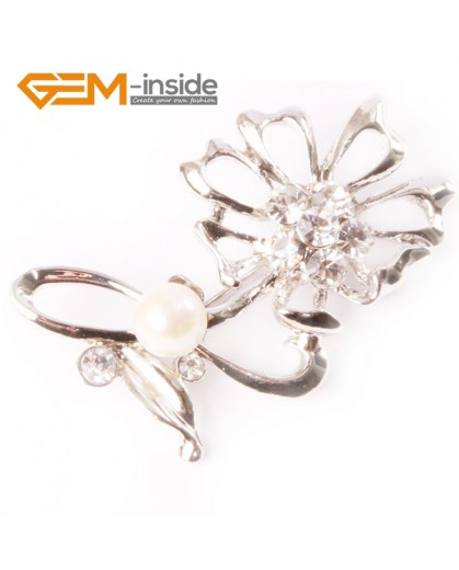 G4546 7-8mm White Fashion Freshwater Pearl Gold Plated Flower Shape Pin Brooch 25x52mm Fashion Jewelry Jewellery for Women 1 Pcs