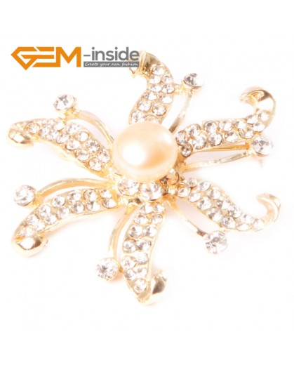 G4553 9-10mm Pink Freshwater Pearl Yellow Gold Plated Starfish Rhinestone Pin Brooch 48mm Fashion Jewelry Jewellery for Women 1 Pcs