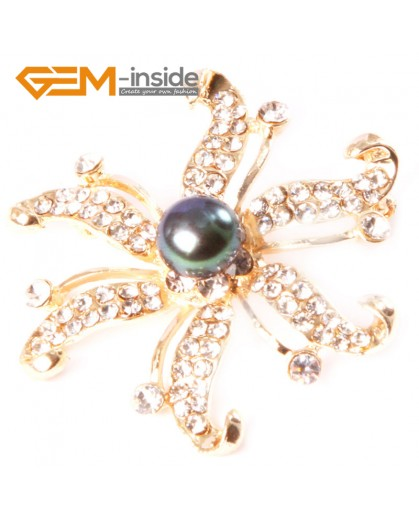 G4555 9-10mm Black Freshwater Pearl Yellow Gold Plated Starfish Rhinestone Pin Brooch 48mm Fashion Jewelry Jewellery for Women 1 Pcs