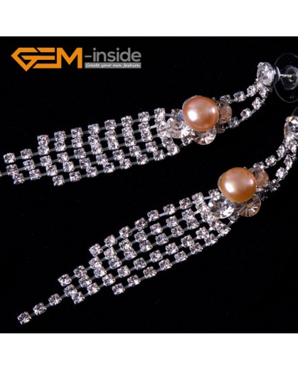 G4569 8-9mm Pink Freshwater Pearl Gold Plated Rhinestone Dangle Stud Earrings1 Pair for Ladies Fashion Jewelry Jewellery