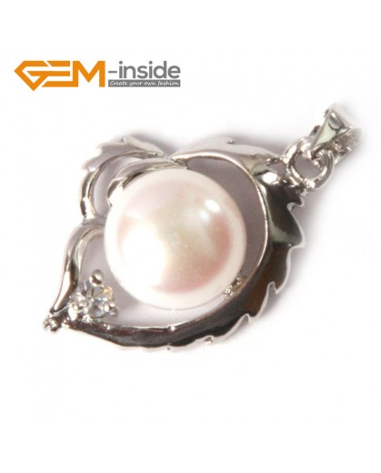 G4586 9-10mm White Freshwater Pearl Gold Plated Frame Necklace Pendant 16x22mm Fashion Jewelry Jewellery 1 Pcs