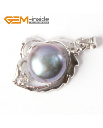 G4587 9-10mm Black Freshwater Pearl Gold Plated Frame Necklace Pendant 16x22mm Fashion Jewelry Jewellery 1 Pcs