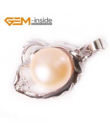 G4588 9-10mm Pink Freshwater Pearl Gold Plated Frame Necklace Pendant 16x22mm Fashion Jewelry Jewellery 1 Pcs