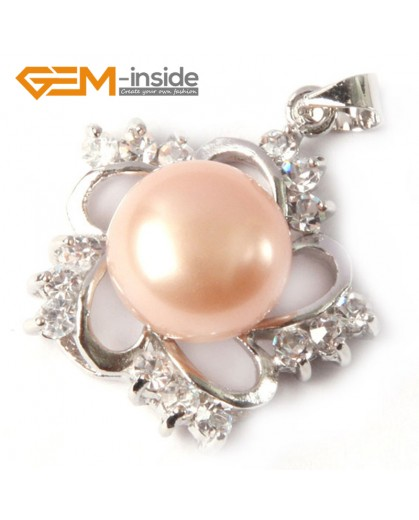 G4598 natural pink freshwater cultured pearl gold plated frame rhinestone crystal pendant  10-11mm Pendants Fashion Jewelry Jewellery