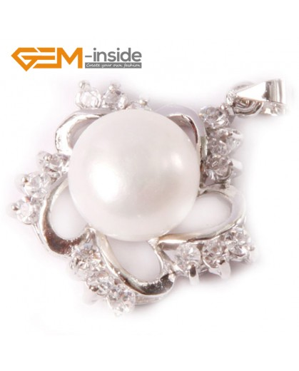 G4601 natural white cultured freshwater pearl gold plated frame rhinestone crystal pendant  10-11mm Pendants Fashion Jewelry Jewellery