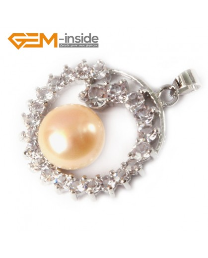 G4606  Natural 10-11mm Pink Freshwater Cultured Pearl Gold Plated Frame With Rhinestone Pendant 24x28m Pendants Fashion Jewelry Jewellery