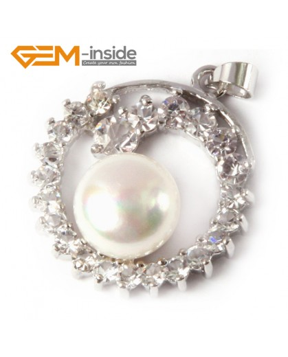 G4607  Natural 10-11mm White Freshwater Cultured Pearl Gold Plated Frame With Rhinestone Pendant 24x28m Pendants Fashion Jewelry Jewellery