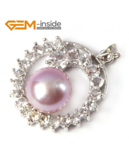G4609  10-11mm Natural Purple Freshwater Cultured Pearl Gold Plated Frame With Rhinestone Pendant 24x28m Pendants Fashion Jewelry Jewellery