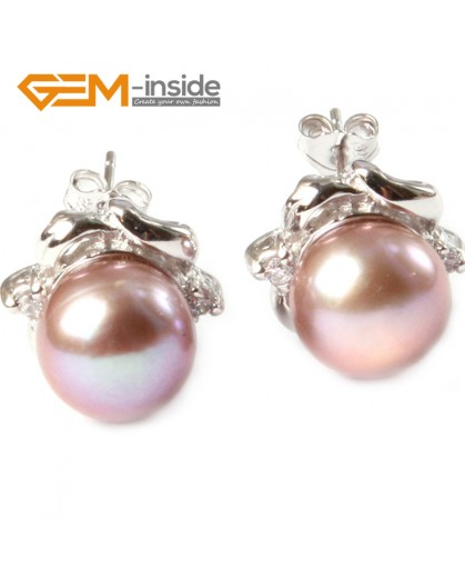 G4651 9-10mm Purple Freshwater Pearl White Gold Plate Elegant Frame Stud Earrings for Ladies Fashion Jewelry Jewellery 1 Pcs