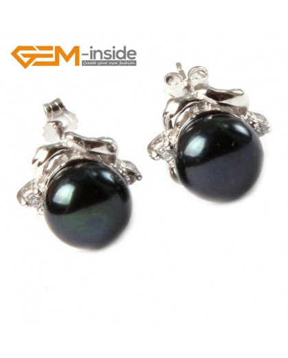 G4652 9-10mm Black Freshwater Pearl White Gold Plate Elegant Frame Stud Earrings for Ladies Fashion Jewelry Jewellery 1 Pcs