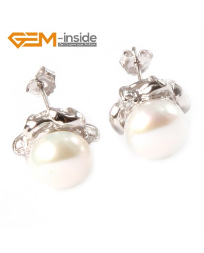 G4653 9-10mm White Freshwater Pearl White Gold Plate Elegant Frame Stud Earrings for Ladies Fashion Jewelry Jewellery 1 Pcs
