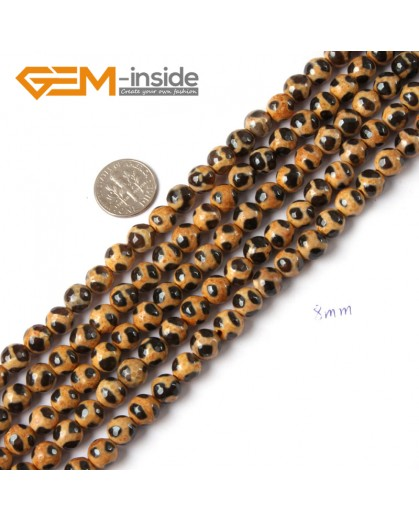 """G4715 Orange Black Faceted Round Gemstone Football Fire Agate Loose Beads Strand 15"""" Natural Stone Beads for Jewelry Making Wholesale"""