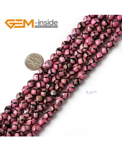 "G4721 Dark Pink Faceted Round Gemstone Football Fire Agate Loose Beads Strand 15"" Natural Stone Beads for Jewelry Making Wholesale"
