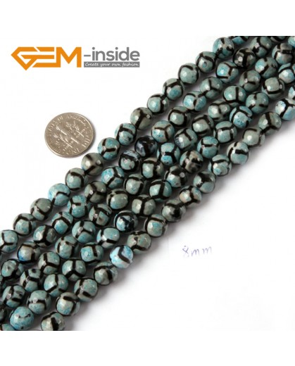 """G4723 Blue Round Faceted Football Fire Agate Loose Beads Strand 15"""" Natural Stone Beads for Jewelry Making Wholesale"""