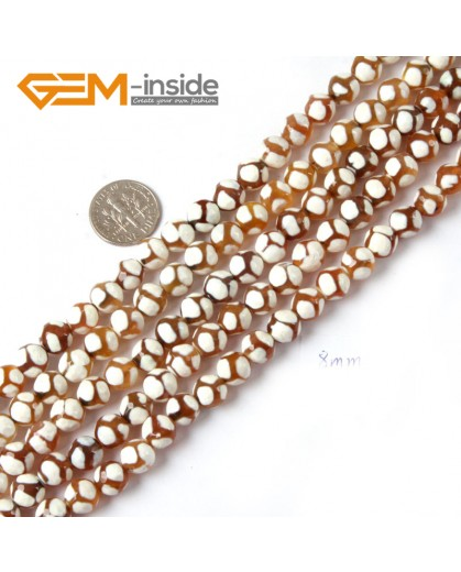 """G4724 White &Yellow Round Faceted Gemstone Football Fire Agate Loose Beads Strand 15"""" Natural Stone Beads for Jewelry Making Wholesale"""