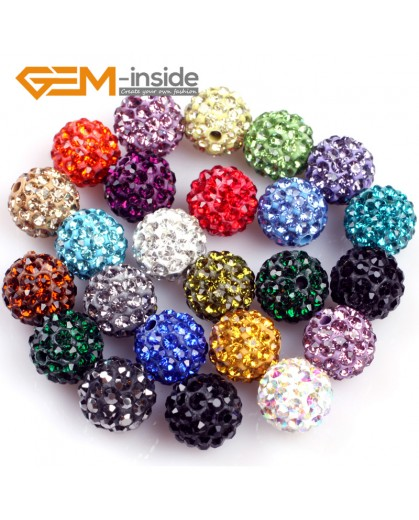 G4974 mixed color 10mm Fashion Pave Rhinestones Crystal Ball Jewelry Making Beads 10 Pcs Wholesale Natural Stone Beads for Jewelry Making Wholesale