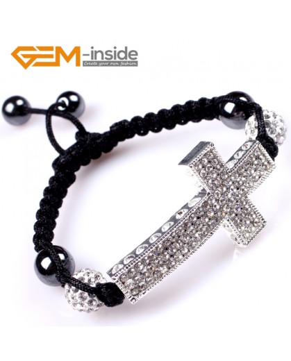"G5000 big silver corss 10mm Cross Bracelet With White Crystal Rhinestones Ball Adjustable Size 6""-8"" Fashion Jewelry Jewellery Bracelets  for women"