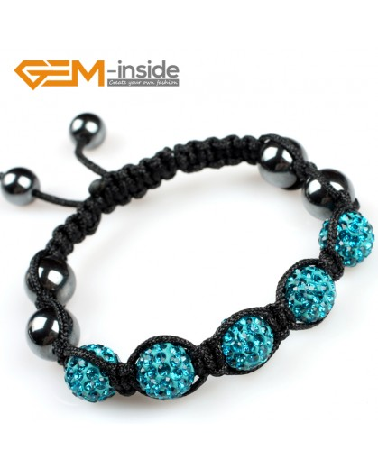 "G5107 lake blue 10mm Gemstone Pave Sparkle Crystal 5 Ball Beads Bracelet Adjustable 6""-8"" Fashion Jewelry Jewellery Bracelets  for women"