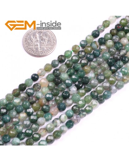 "G5136 4mm Natural Round Faceted Green Moss Agate Gemstone DIY Jewelry Making Beads Strand 15"" Natural Stone Beads for Jewelry Making Wholesale"