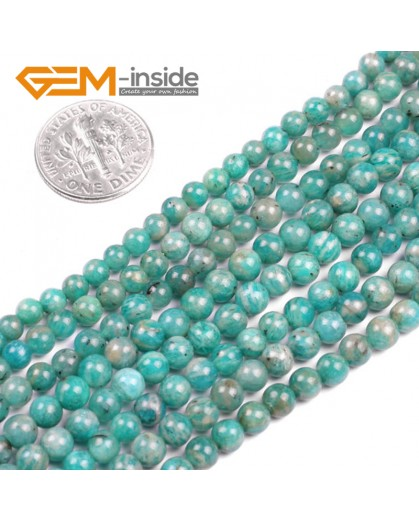 G5142 4mm Round Gemstone Blue Natural Russia Amazonite Stone Loose Beads Strand 15 Natural Stone Beads for Jewelry Making Wholesale