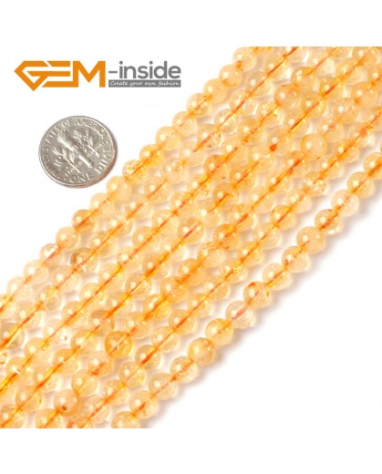 "G5224 6mm Natural Round Gemstone Yellow Citrine Beads Jewelry Making Stone Loose Beads 15"" Natural Stone Beads for Jewelry Making Wholesale"