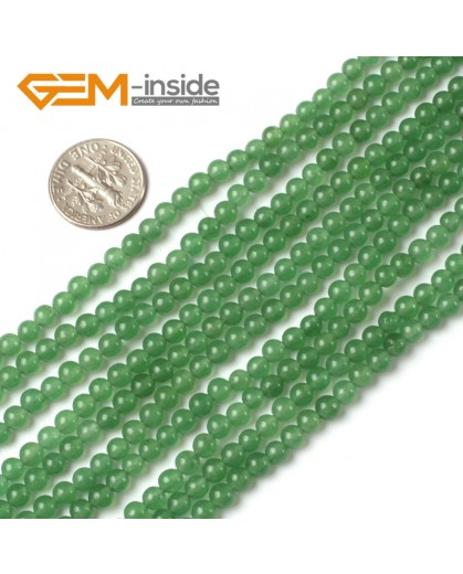 "G5225 4mm  Round Green Jade Aventurine Beads Strand 15""Jewelry Making Gemstone Loose Beads Natural Stone Beads for Jewelry Making Wholesale"