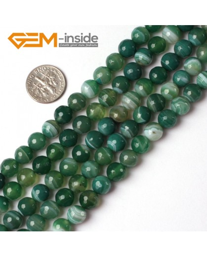 "G5226 8mm Round Faceted Green Sardonyx Agate Gemstone Loose Beads Strand 15"" Free Shipping Natural Stone Beads for Jewelry Making Wholesale"