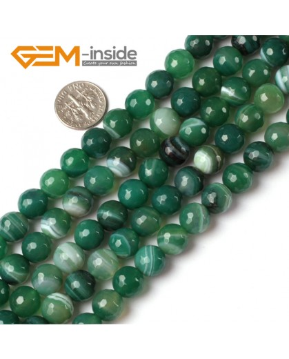 "G5227 10mm Round Faceted Green Sardonyx Agate Gemstone Loose Beads Strand 15"" Free Shipping Natural Stone Beads for Jewelry Making Wholesale"