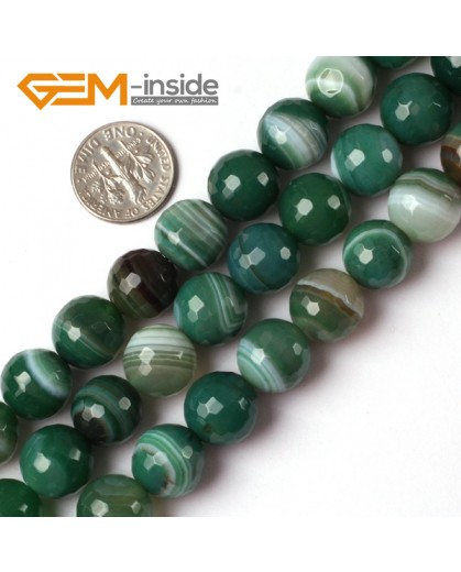 "G5228 12mm Round Faceted Green Sardonyx Agate Gemstone Loose Beads Strand 15"" Free Shipping Natural Stone Beads for Jewelry Making Wholesale"