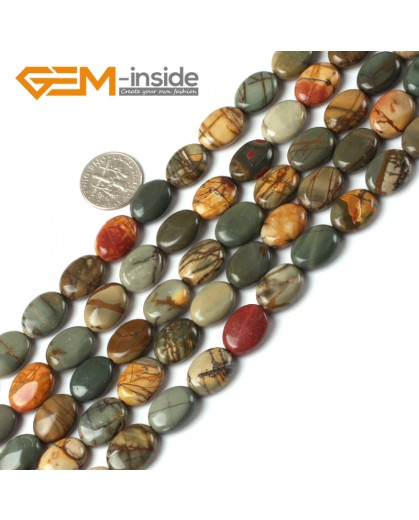 G5255 10x14mm Oval Picasso Jasper Gemstone Beads Strand 15"