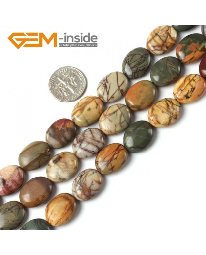 G5256 12x16mm Oval Picasso Jasper Gemstone Beads Strand 15"