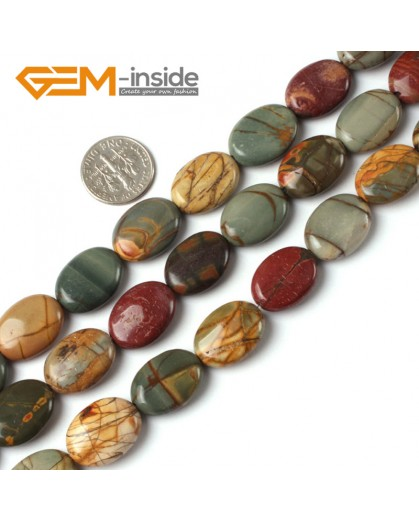 "G5257 13x18mm Oval Picasso Jasper Gemstone Beads Strand 15"" Loose Beads Natural Stone Beads for Jewelry Making Wholesale"