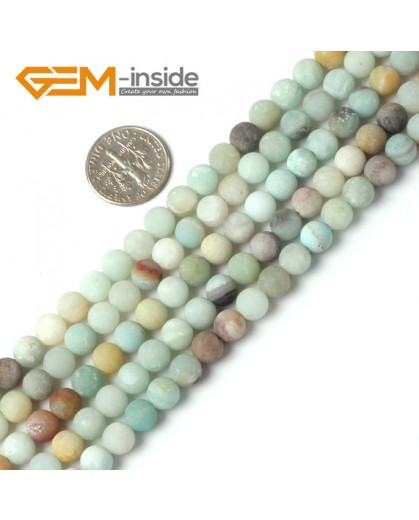 "G5258 6mm Mixed Color Round Frost Mixed Color Amazonite Gemstone Loose Beads Strand 15"" Natural Stone Beads for Jewelry Making Wholesale"