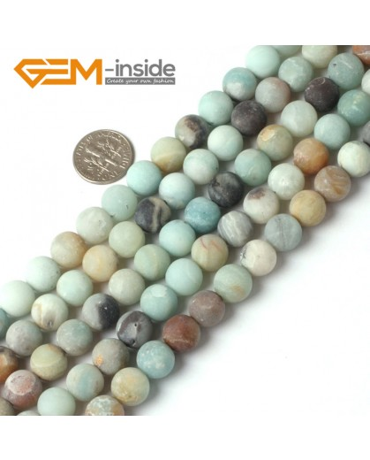 "G5260 10mm Mixed Color Round Frost Mixed Color Amazonite Gemstone Jewelry Making Loose Beads Strand 15"" Natural Stone Beads for Jewelry Making Wholesale"