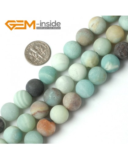 G5261 12mm Mixed color  Round Frost Mixed Color Amazonite Gemstone Loose Beads Strand 15"