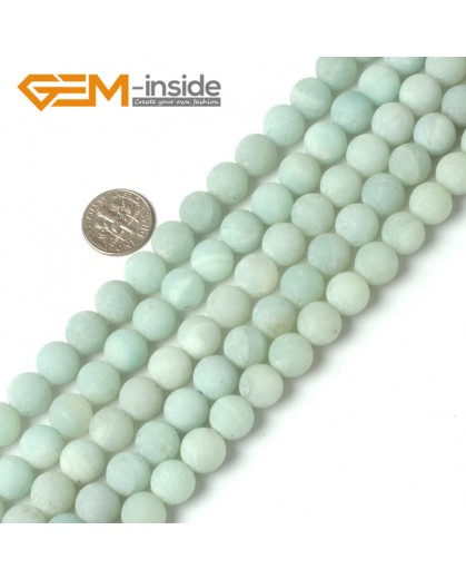 "G5266 10mm Blue Round Frost  Amazonite Gemstone DIY Loose Beads Strand 15""  Natural Stone Beads for Jewelry Making Wholesale"