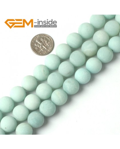 "G5267 12mm Blue Round Frost  Amazonite Gemstone DIY Loose Beads Strand 15""  Natural Stone Beads for Jewelry Making Wholesale"