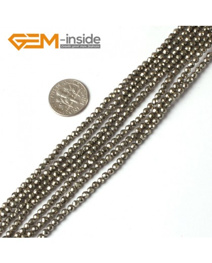 "G5324 3mm Round Faceted Gemstone Silver Gray Natural Pyrite Loose Beads Strand 15"" Natural Stone Beads for Jewelry Making Wholesale"