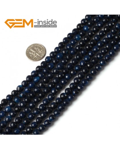 """G5328 6mm Round Faceted Dark blue Gemstone Agate Loose Beads Strand 15"""" Natural Stone Beads for Jewelry Making Wholesale"""