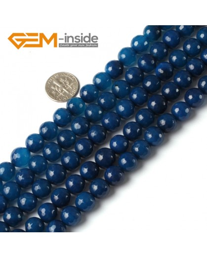 "G5330 10mm Round Faceted Dark blue Gemstone Agate Loose Beads Strand 15"" Natural Stone Beads for Jewelry Making Wholesale"
